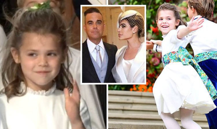 Robbie Williams and Ayda Field's daughter Theodora gives her own royal wave at wedding