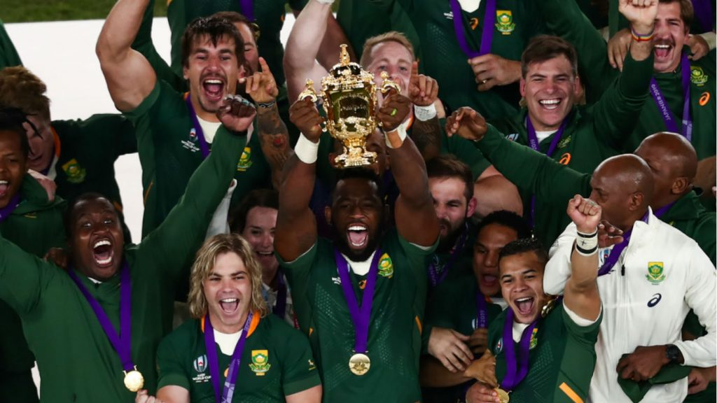 South Africa captain Siya Kolisi lifts the Webb Ellis Cup after the win against England