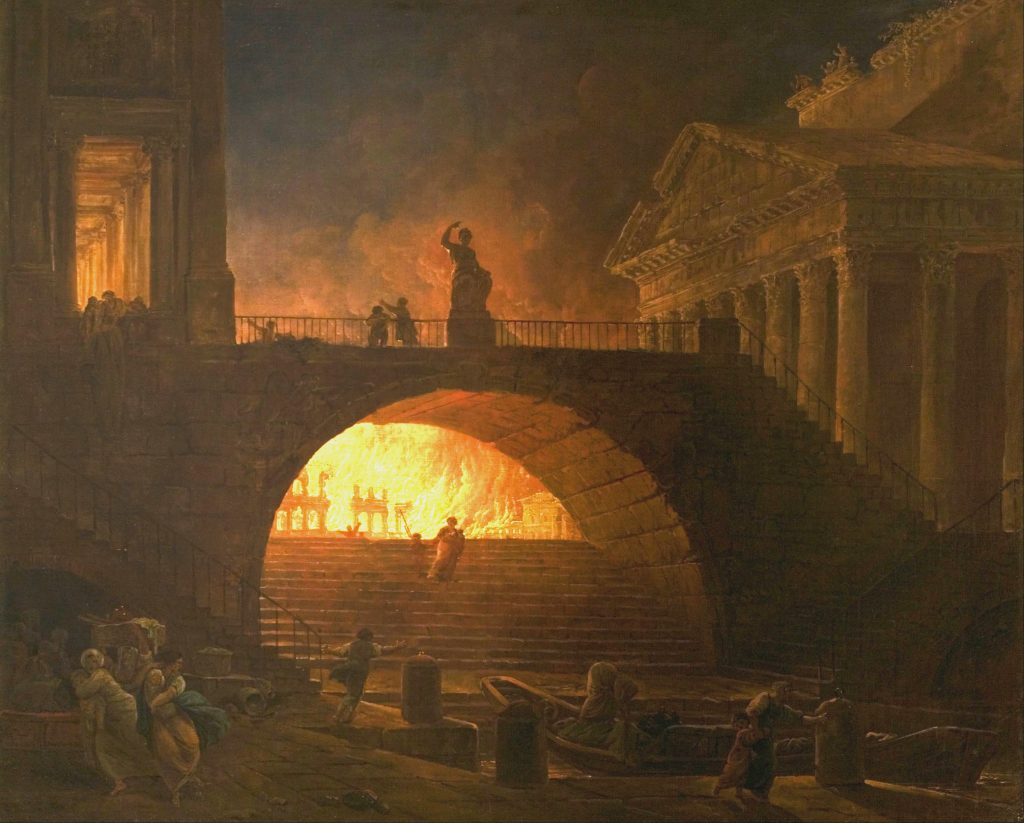 <p>great-fire-rome-1.jpg</p><p>The flames that changed the history of an empire. The Great Fire of Rome, as portrayed in an 18th-century painting by the French artist, Hubert Robert.</p>