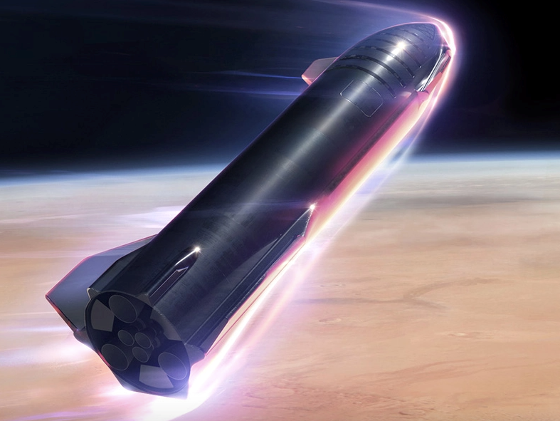 SpaceX says Starship will be able to carry up to 100 people to Mars, as this artist's impression illustrates