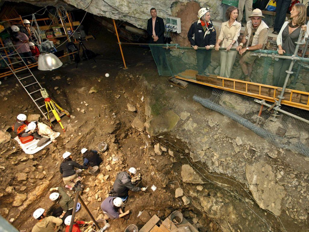 <p>Queen Sofia of Spain visiting the Atapuerca archaeological site in 2009</p>
