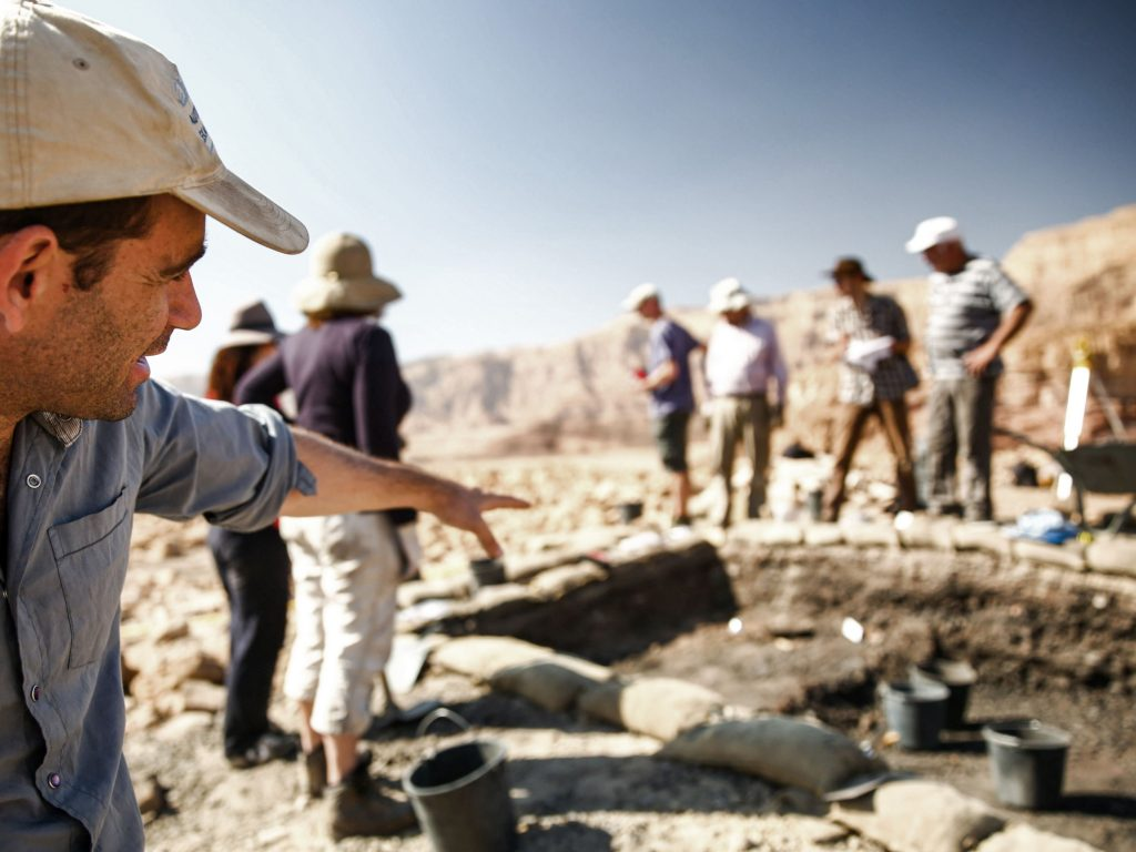 <p>Archaeologists working in the field in the Timna Valley, an ancient copper mine, have discovered purple-dyed fabric</p>