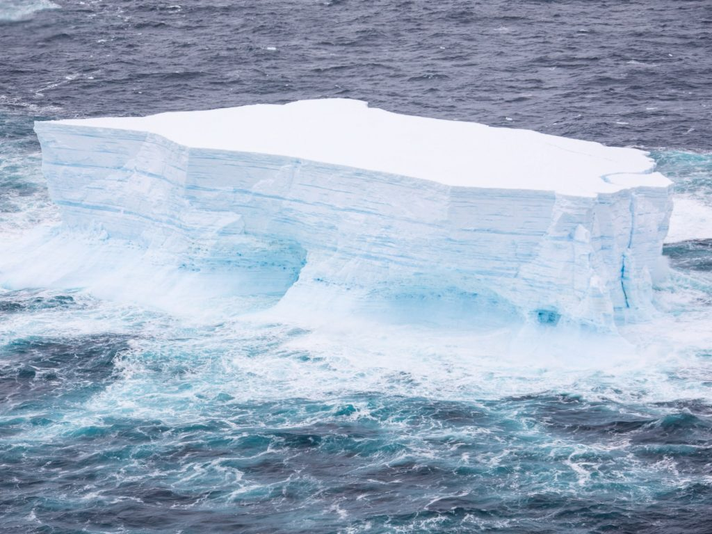 <p>One of the largest icebergs ever recorded was photographed as it floated from Antarctica towards the island of South Georgia</p>