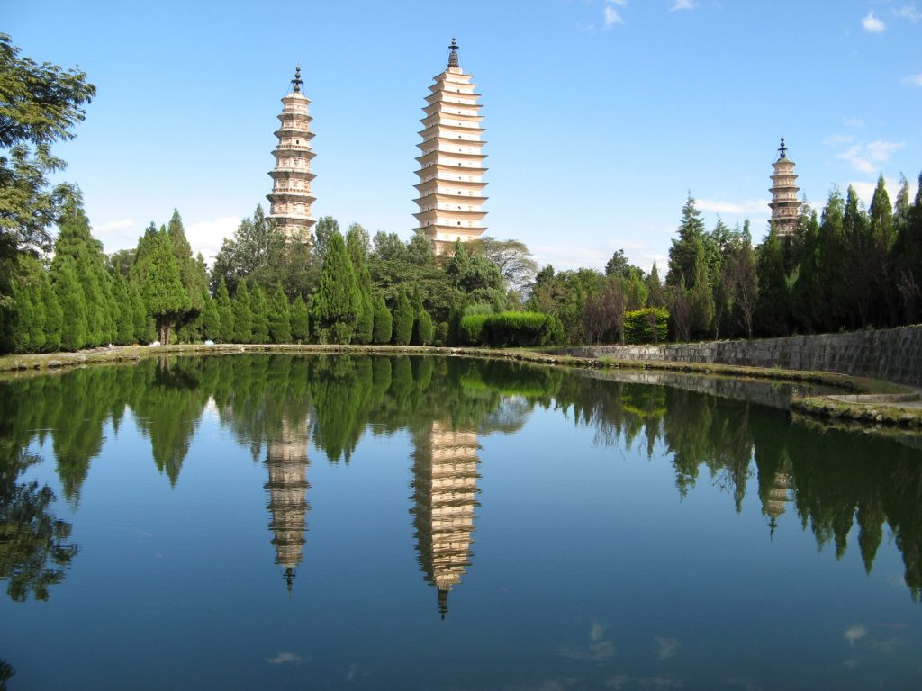 <p>Despite the power and achievements of the Nanzhao Empire, very few of its major buildings survive today – apart from the newly discovered remnants of its great monastery - and the still standing 9th century pagoda in Dali (the middle structure in this photograph).</p>