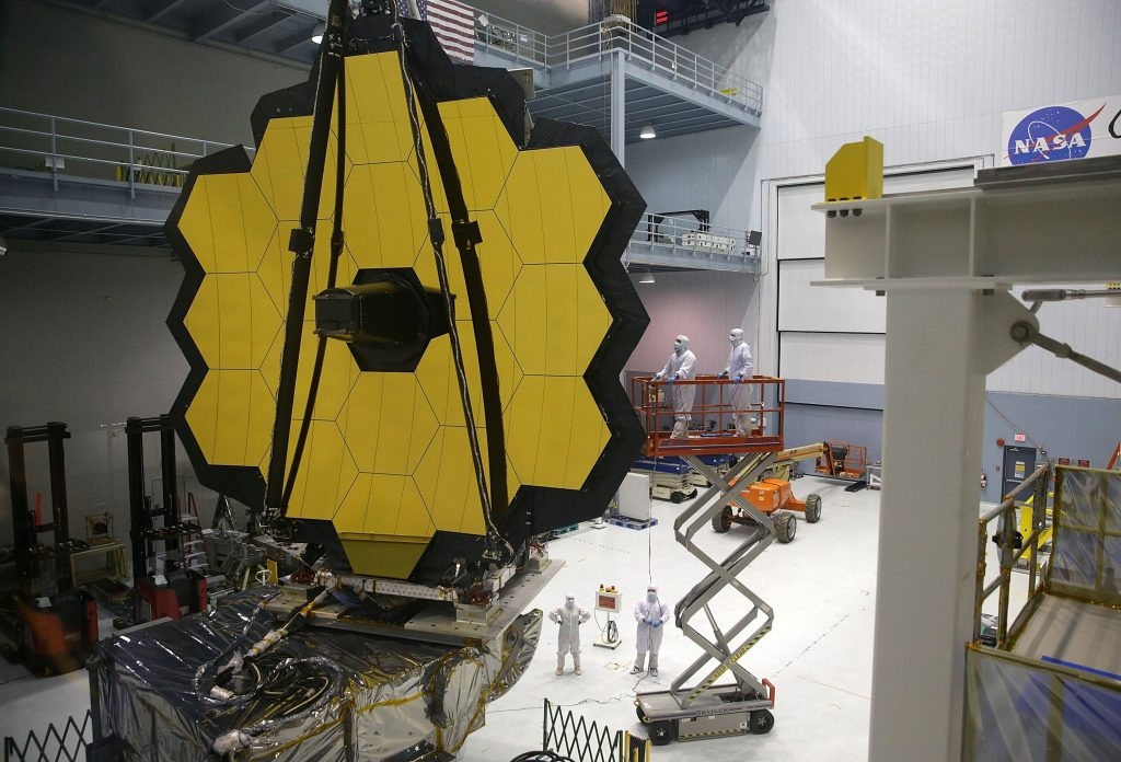 <p>Engineers and technicians assemble the James Webb Space Telescope at Nasa's Goddard Space Flight Centre in Maryland</p>